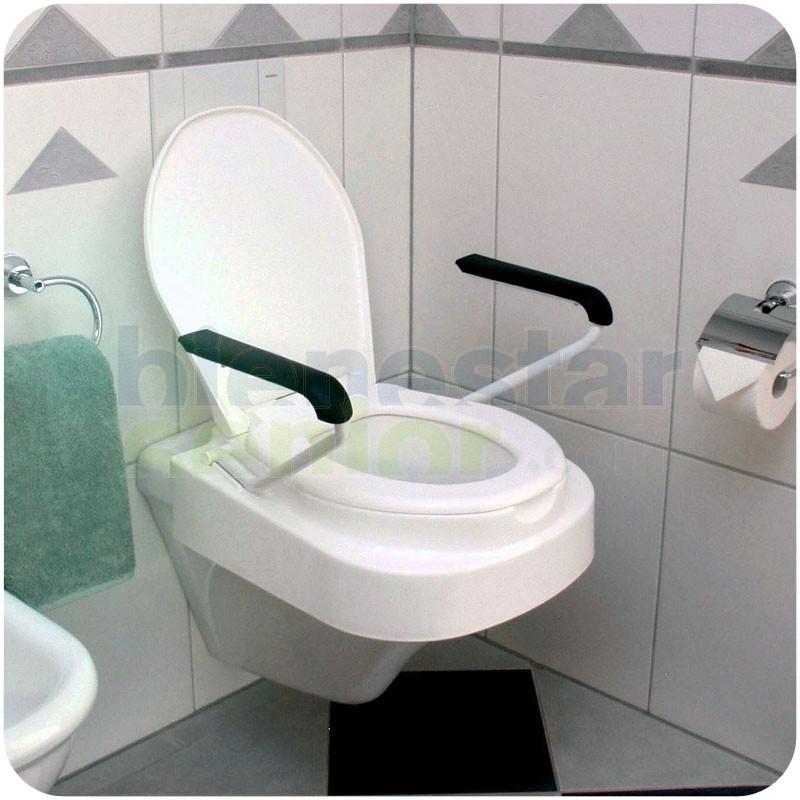 Asiento elevador wc 8 10 13cm tapa y brazos productos for Inodoro discapacitados