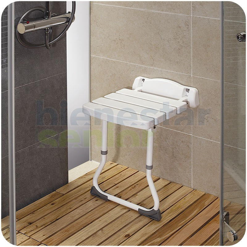 Asiento de ducha abatible 39 lux 39 con patas productos para - Asiento ducha abatible ...