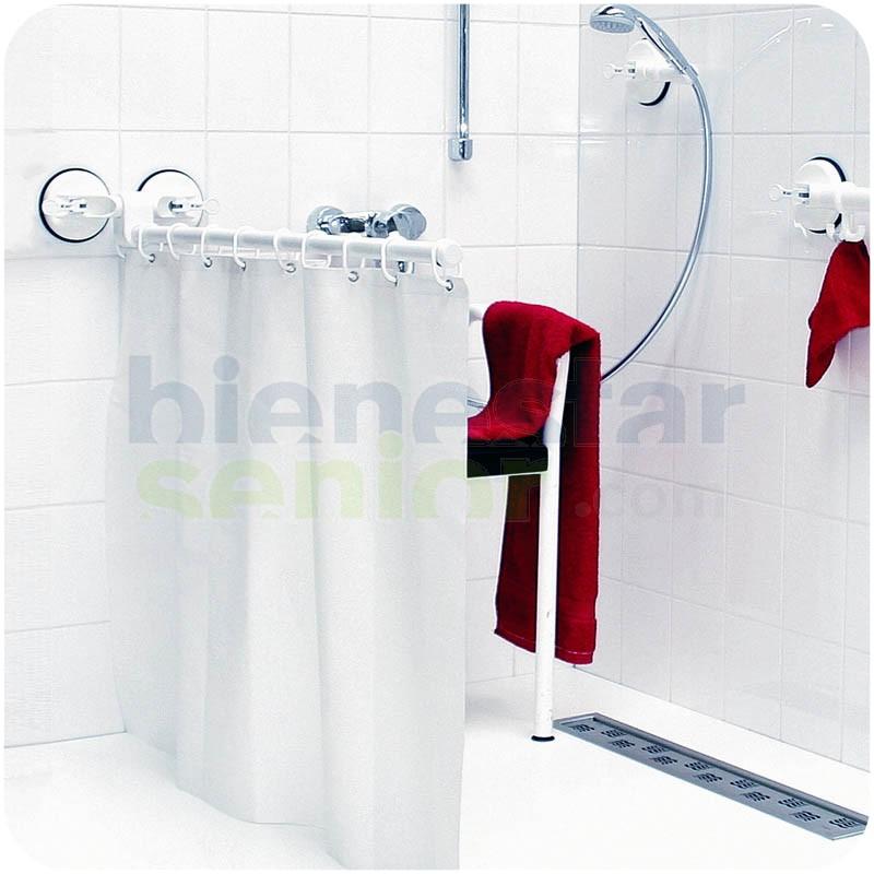 Barra y cortina de ba o abatible con ventosas productos for Ventosas para bano