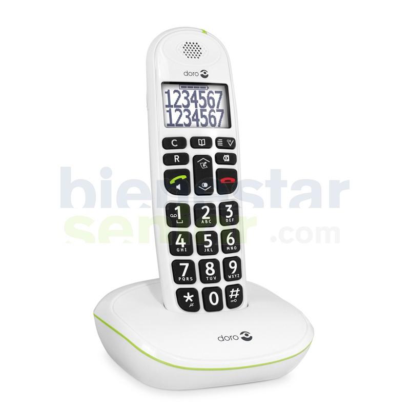 Doro PhoneEasy 110 - Teléfono Inalámbrico Teclas Parlantes -Blanco-